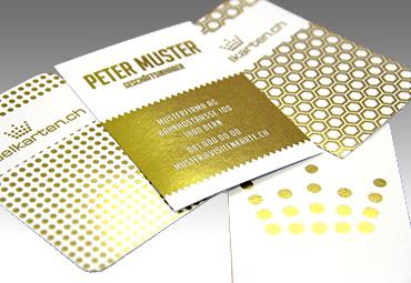 Visitenkarte Hochformat Gold